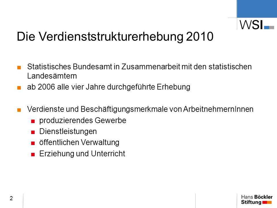 Die Verdienststrukturerhebung 2010 Statistisches Bundesamt in Zusammenarbeit mit den statistischen Landesämtern ab 2006 alle vier Jahre durchgeführte