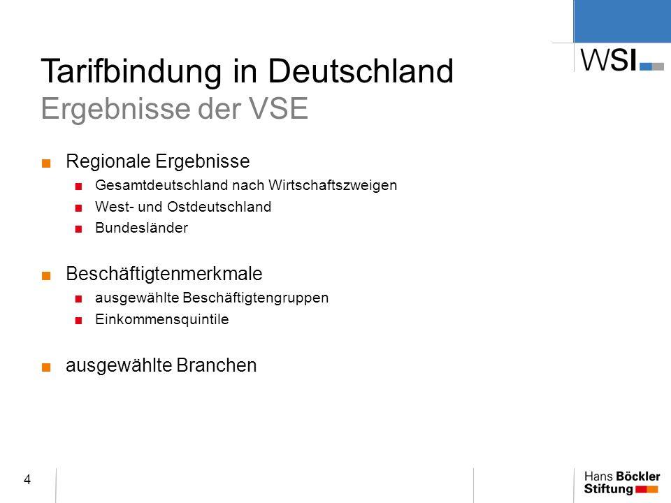 Tarifbindung in Deutschland Ergebnisse der VSE Regionale Ergebnisse Gesamtdeutschland nach Wirtschaftszweigen West- und Ostdeutschland Bundesländer Be