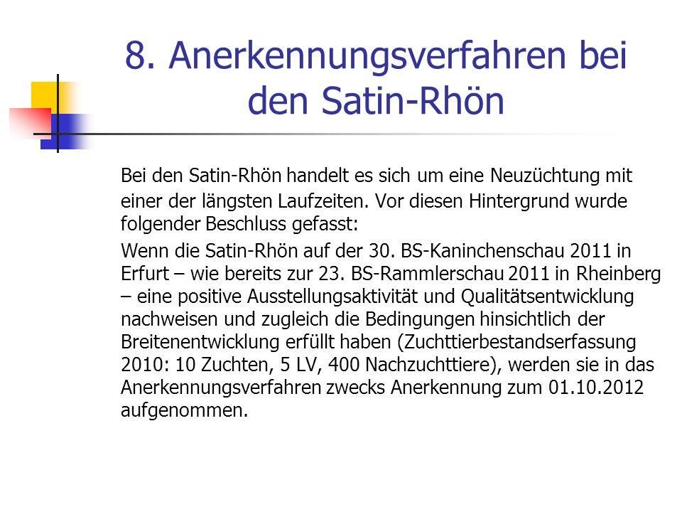 8. Anerkennungsverfahren bei den Satin-Rhön Bei den Satin-Rhön handelt es sich um eine Neuzüchtung mit einer der längsten Laufzeiten. Vor diesen Hinte