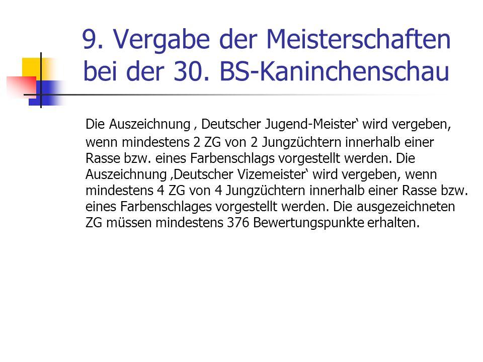 9. Vergabe der Meisterschaften bei der 30. BS-Kaninchenschau Die Auszeichnung Deutscher Jugend-Meister wird vergeben, wenn mindestens 2 ZG von 2 Jungz