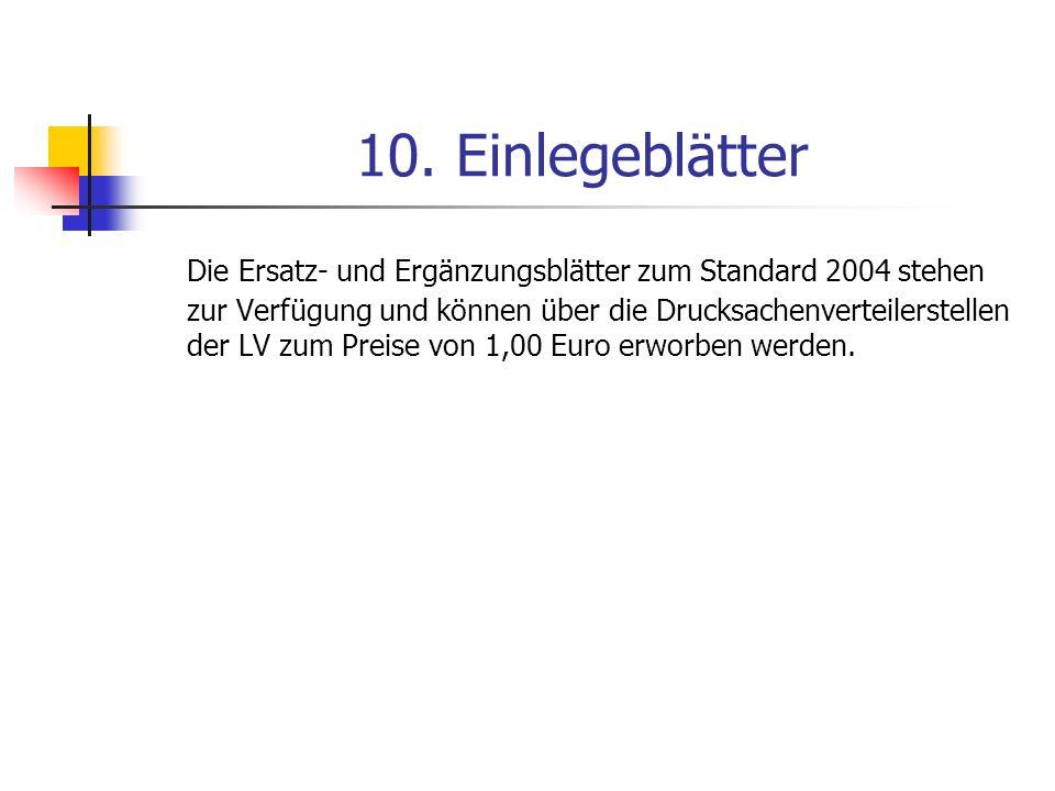 10. Einlegeblätter Die Ersatz- und Ergänzungsblätter zum Standard 2004 stehen zur Verfügung und können über die Drucksachenverteilerstellen der LV zum