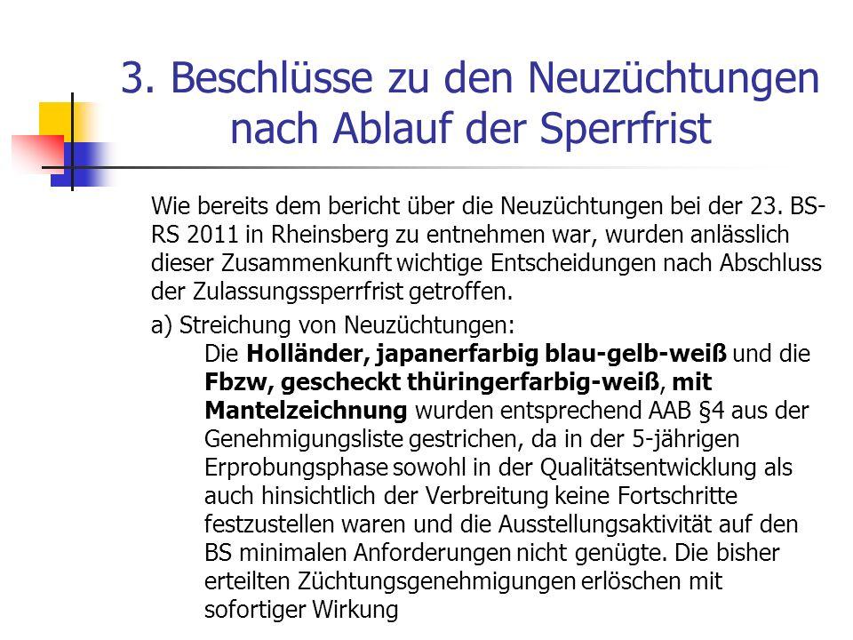 3.Beschlüsse zu den Neuzüchtungen nach Ablauf der Sperrfrist b) Anerkennung als Rasse bzw.