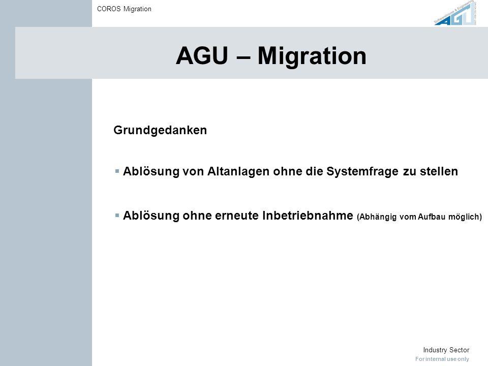 For internal use only Industry Sector COROS Migration AGU – Migration Grundgedanken Ablösung von Altanlagen ohne die Systemfrage zu stellen Ablösung o