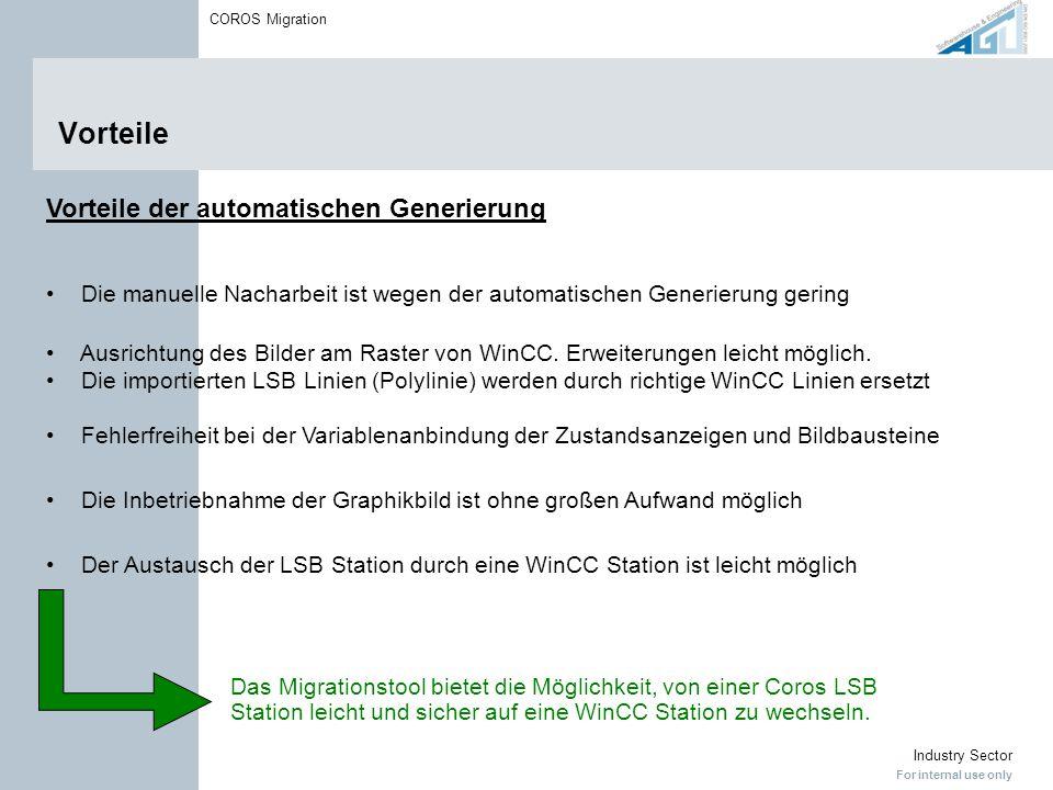 For internal use only Industry Sector COROS Migration Vorteile Vorteile der automatischen Generierung Die manuelle Nacharbeit ist wegen der automatisc