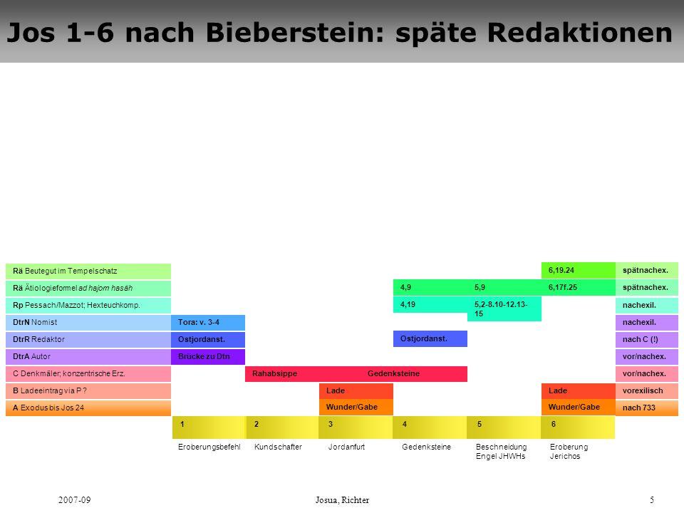 2007-09Josua, Richter5 Jos 1-6 nach Bieberstein: späte Redaktionen 4321 EroberungsbefehlKundschafterJordanfurtGedenksteine nach 733 5 Beschneidung Eng