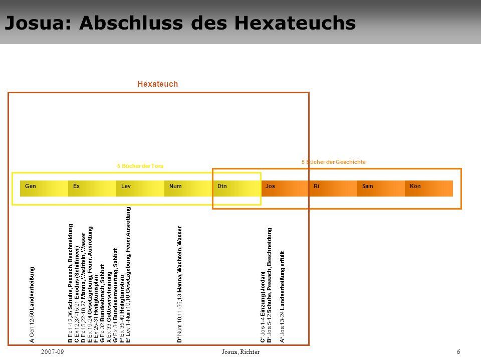 2007-09Josua, Richter6 Josua: Abschluss des Hexateuchs Gen A Gen 12-50 Landverheißung B Ex 1-12,36 Schuhe, Pessach, Beschneidung C Ex 12,37-15,21 Exod