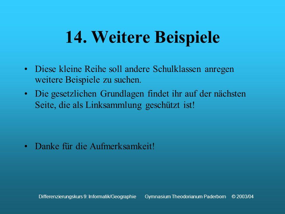 Verwendete Quellen: http://www.rettet-das-internet.de http://www.bundesrecht.juris.de http://remus.jura.uni-sb.de http://www.informatik.hu-berlin.de http://www.e-recht24.de http://www.ejura.de Differenzierungskurs 9: Informatik/Geographie Gymnasium Theodorianum Paderborn © 2003/04 Für die Inhalte der weiterführenden Links übernehmen wir keine Haftung!