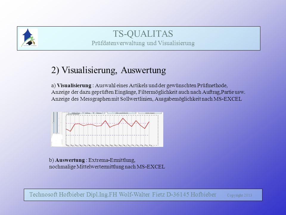 TS-QUALITAS Prüfdatenverwaltung und Visualisierung Technosoft Hofbieber Dipl.Ing.FH Wolf-Walter Fietz D-36145 Hofbieber Copyright 2013 2) Visualisieru