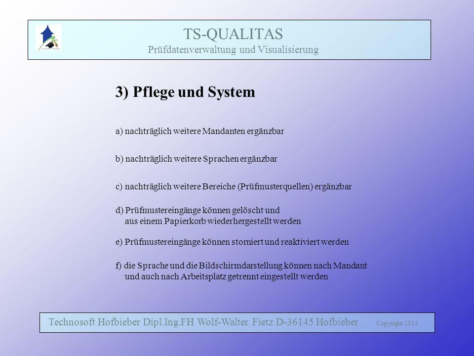 TS-QUALITAS Prüfdatenverwaltung und Visualisierung Technosoft Hofbieber Dipl.Ing.FH Wolf-Walter Fietz D-36145 Hofbieber Copyright 2013 3) Pflege und S