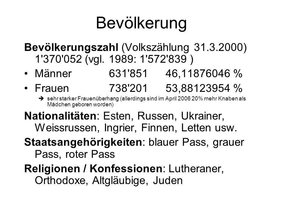 Bevölkerung Bevölkerungszahl (Volkszählung 31.3.2000) 1'370'052 (vgl. 1989: 1'572'839 ) Männer631'851 46,11876046 % Frauen738'20153,88123954 % sehr st