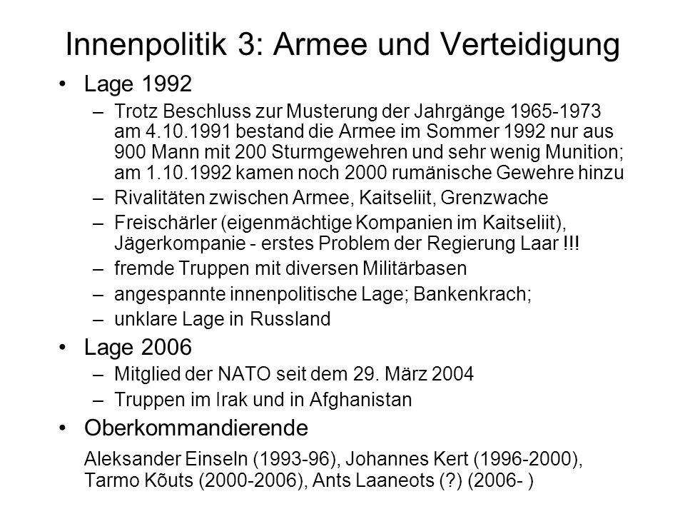 Innenpolitik 3: Armee und Verteidigung Lage 1992 –Trotz Beschluss zur Musterung der Jahrgänge 1965-1973 am 4.10.1991 bestand die Armee im Sommer 1992