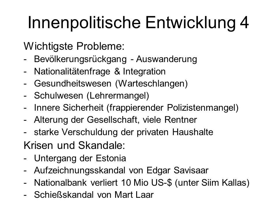 Innenpolitische Entwicklung 4 Wichtigste Probleme: -Bevölkerungsrückgang - Auswanderung -Nationalitätenfrage & Integration -Gesundheitswesen (Wartesch
