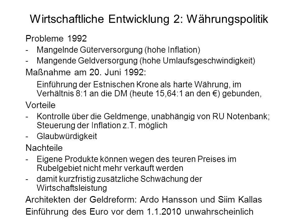 Wirtschaftliche Entwicklung 2: Währungspolitik Probleme 1992 -Mangelnde Güterversorgung (hohe Inflation) -Mangende Geldversorgung (hohe Umlaufsgeschwi