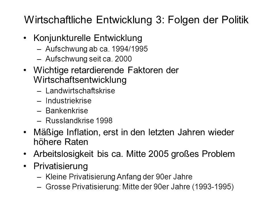 Wirtschaftliche Entwicklung 3: Folgen der Politik Konjunkturelle Entwicklung –Aufschwung ab ca. 1994/1995 –Aufschwung seit ca. 2000 Wichtige retardier