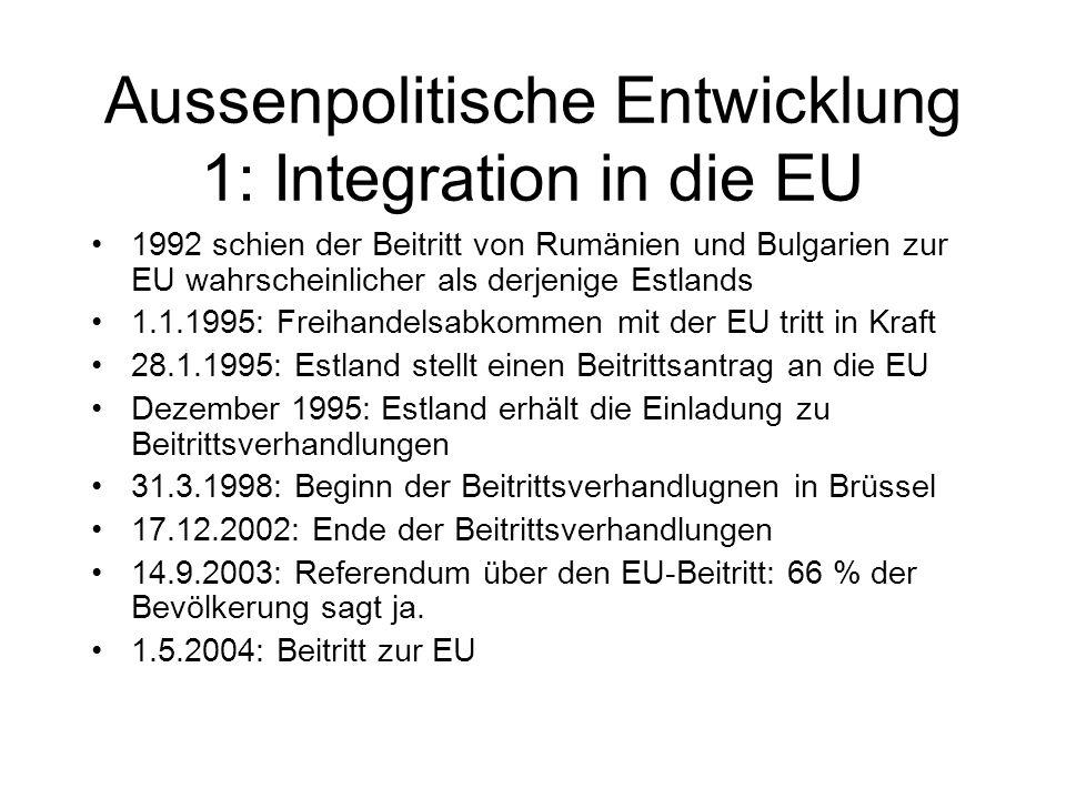 Aussenpolitische Entwicklung 1: Integration in die EU 1992 schien der Beitritt von Rumänien und Bulgarien zur EU wahrscheinlicher als derjenige Estlan