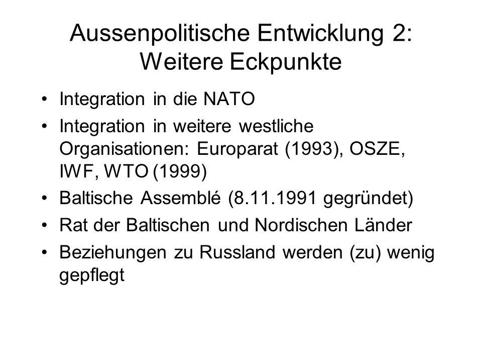Aussenpolitische Entwicklung 2: Weitere Eckpunkte Integration in die NATO Integration in weitere westliche Organisationen: Europarat (1993), OSZE, IWF