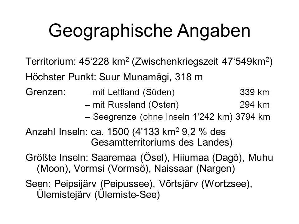 Geographische Angaben Territorium: 45228 km 2 (Zwischenkriegszeit 47549km 2 ) Höchster Punkt: Suur Munamägi, 318 m Grenzen: – mit Lettland (Süden) 339