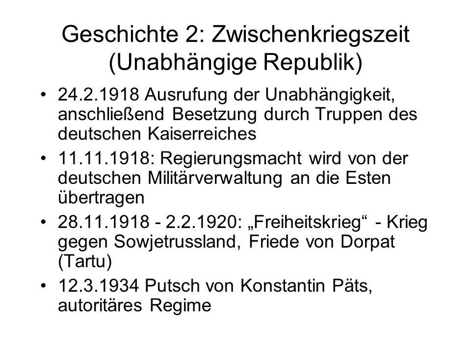 Geschichte 3: 1939-1991 (Besetzte Republik) 23.8.1939 Hitler-Stalin-Pakt, geheimes Zusatzprotokoll schlägt Estland der sowjetischen Einflusssphäre zu, Militärbasen 17.6.-3.8.1940 Absetzung von Päts, unfreie Wahlen führen zu einem sowjetfreundlichen Parlament und zur Aufnahme in die Sowjetunion 22.6.1941 Angriff Hitlers auf die Sowjetunion, Estland wird 1941-1944 von den Nazis besetzt, anschließend erneut von den Sowjets, Gebietsabtrennungen 1987-1991 Unabhängigkeitsbewegung 16.11.1988 Souveränitätserklärung 23.8.1989 Baltische Kette 30.3.1990 Unabhängigkeitserklärung (de jure) 20.8.1991 Unabhängigkeit wird de facto wiederhergestellt