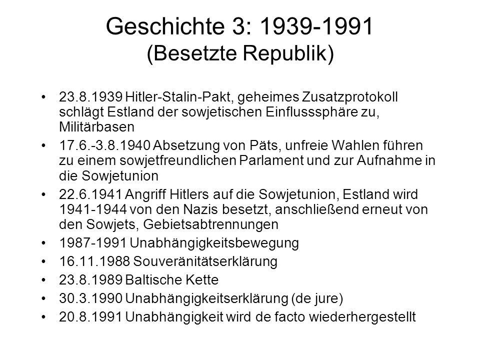 Geschichte 3: 1939-1991 (Besetzte Republik) 23.8.1939 Hitler-Stalin-Pakt, geheimes Zusatzprotokoll schlägt Estland der sowjetischen Einflusssphäre zu,