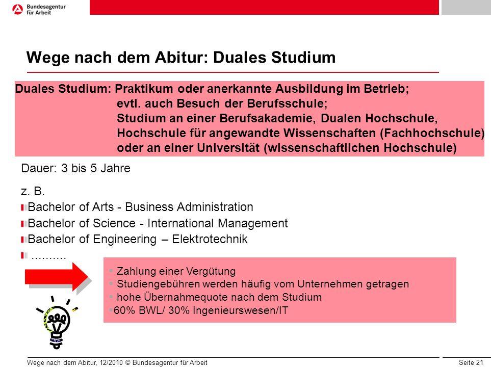 Seite 21 Wege nach dem Abitur, 12/2010 © Bundesagentur für Arbeit Wege nach dem Abitur: Duales Studium Dauer: 3 bis 5 Jahre z. B. Bachelor of Arts - B