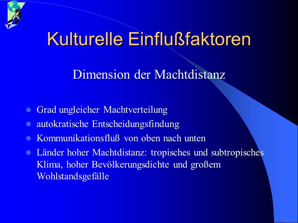 Kulturelle Einflußfaktoren Dimension der Machtdistanz Grad ungleicher Machtverteilung autokratische Entscheidungsfindung Kommunikationsfluß von oben n