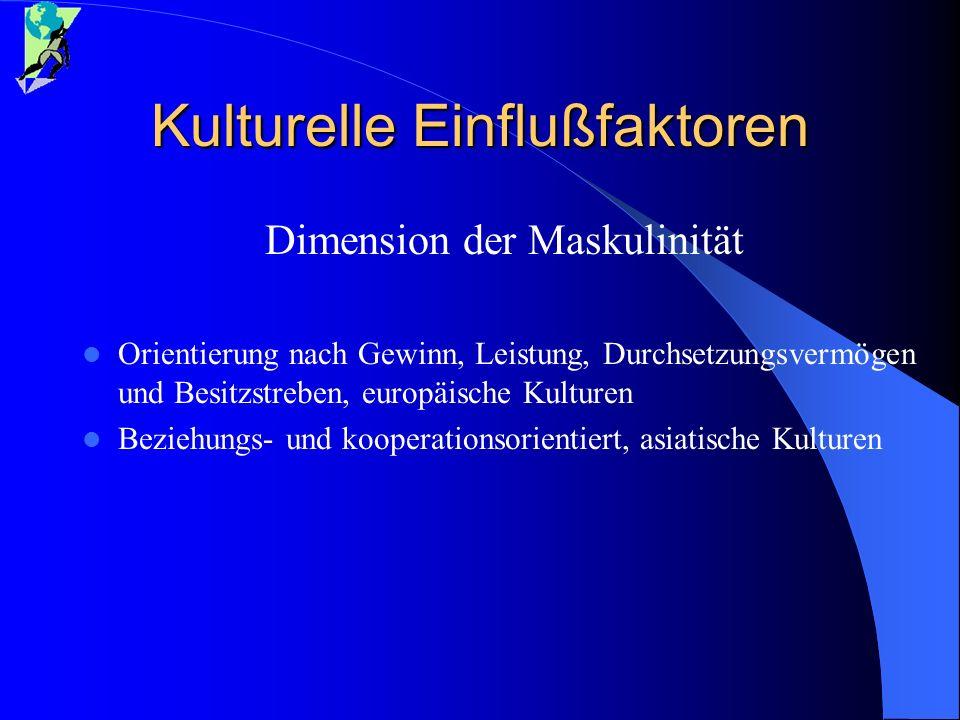 Kulturelle Einflußfaktoren Dimension der Maskulinität Orientierung nach Gewinn, Leistung, Durchsetzungsvermögen und Besitzstreben, europäische Kulture