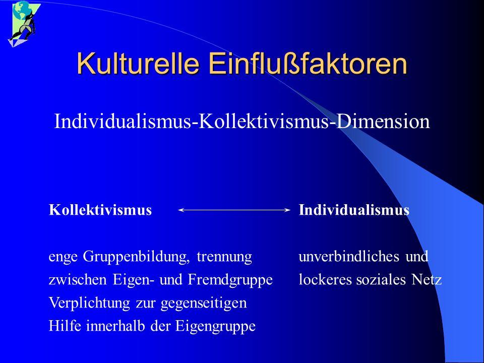 Kulturelle Einflußfaktoren Individualismus-Kollektivismus-Dimension Individualismus unverbindliches und lockeres soziales Netz Kollektivismus enge Gru