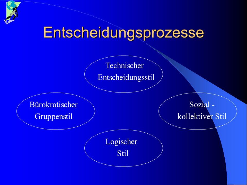 Entscheidungsprozesse Technischer Entscheidungsstil Bürokratischer Gruppenstil Logischer Stil Sozial - kollektiver Stil