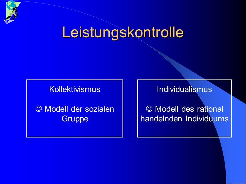 Leistungskontrolle Individualismus Modell des rational handelnden Individuums Kollektivismus Modell der sozialen Gruppe
