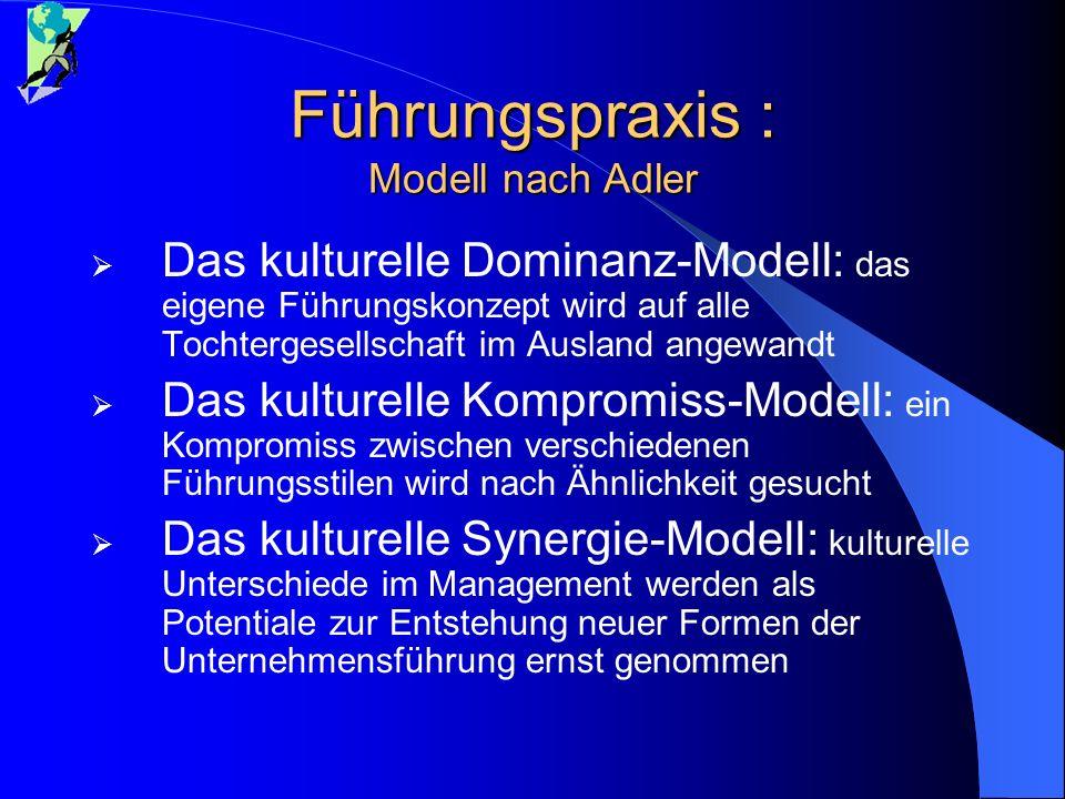 Führungspraxis : Modell nach Adler Das kulturelle Dominanz-Modell: das eigene Führungskonzept wird auf alle Tochtergesellschaft im Ausland angewandt D