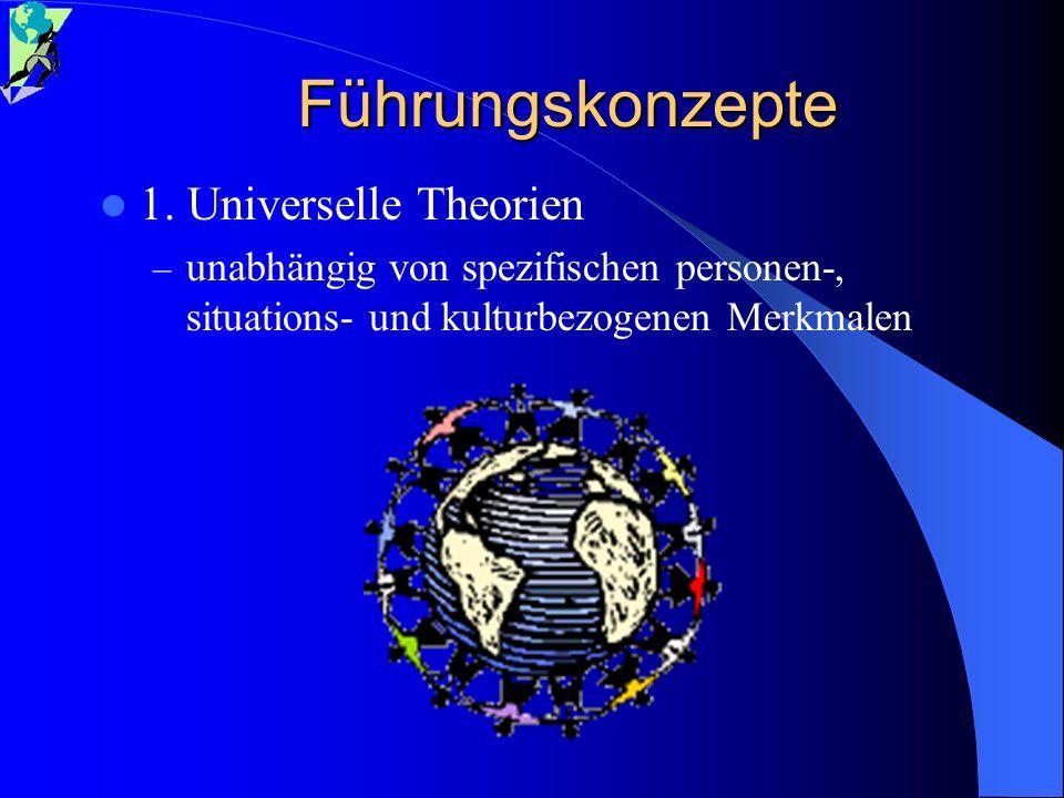 Führungskonzepte 1. Universelle Theorien – unabhängig von spezifischen personen-, situations- und kulturbezogenen Merkmalen