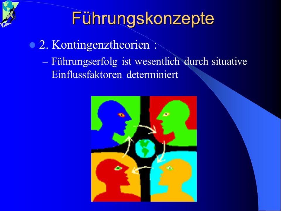 Führungskonzepte 2. Kontingenztheorien : – Führungserfolg ist wesentlich durch situative Einflussfaktoren determiniert