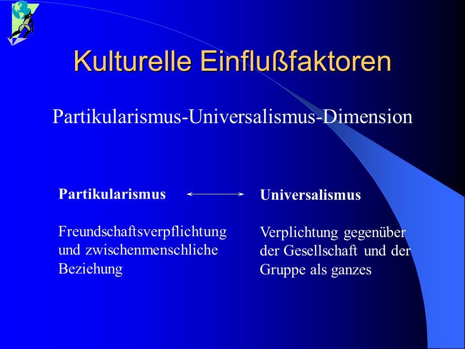 Kulturelle Einflußfaktoren Partikularismus-Universalismus-Dimension Partikularismus Freundschaftsverpflichtung und zwischenmenschliche Beziehung Unive