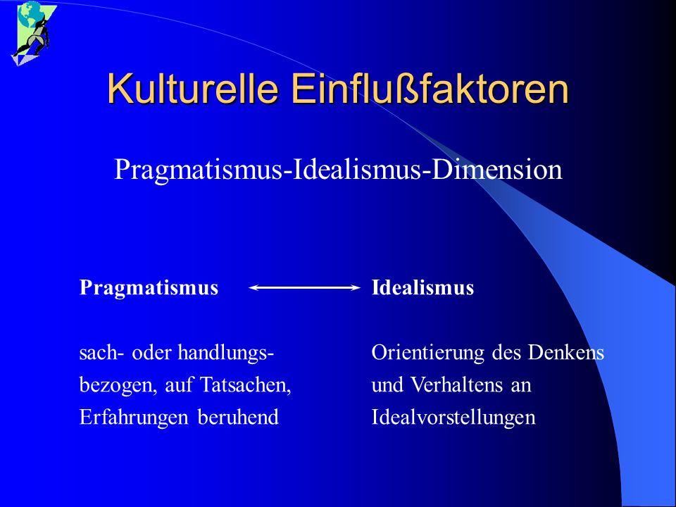 Kulturelle Einflußfaktoren Pragmatismus-Idealismus-Dimension Pragmatismus sach- oder handlungs- bezogen, auf Tatsachen, Erfahrungen beruhend Idealismu