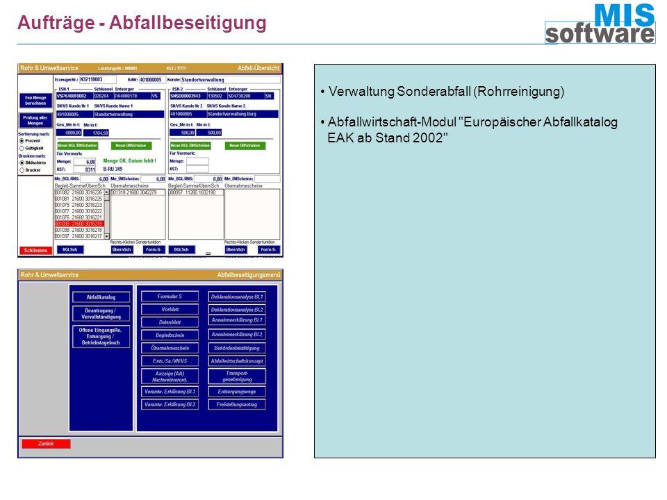 Aufträge - Abfallbeseitigung Verwaltung Sonderabfall (Rohrreinigung) Abfallwirtschaft-Modul