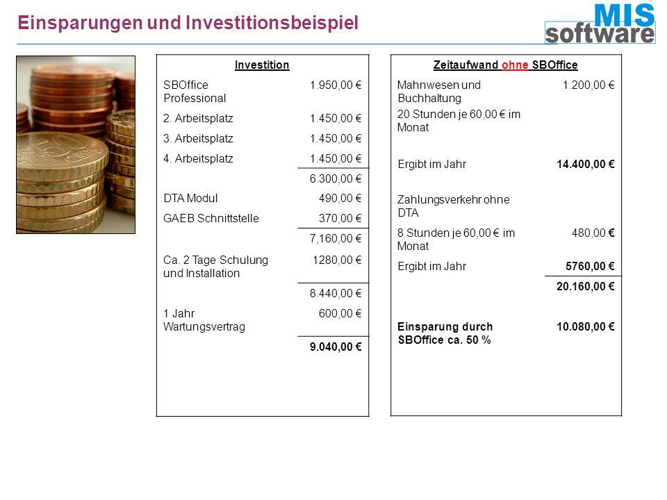 Einsparungen und Investitionsbeispiel Investition SBOffice Professional 1.950,00 2. Arbeitsplatz1.450,00 3. Arbeitsplatz1.450,00 4. Arbeitsplatz1.450,