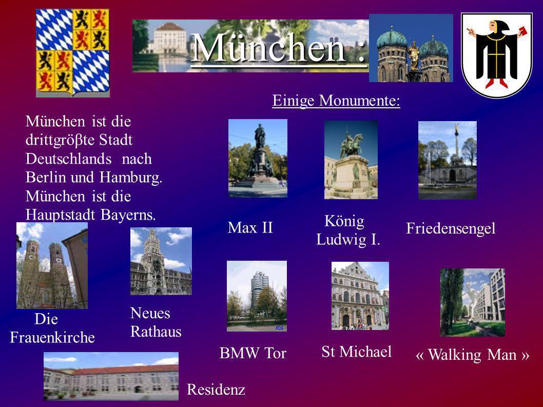 Bayern ist das gröβte Land Deutschlands mit 13 Millionen Einwohnern. Die Hauptstadt ist München. Die Sehenswürdigkeiten in Bayern sind: - München - Da
