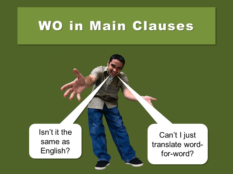 WO in Main Clauses Isnt it the same as English.Isnt it the same as English.