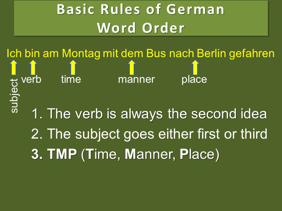 verb Basic Rules of German Word Order 1.The verb is always the second idea 2.