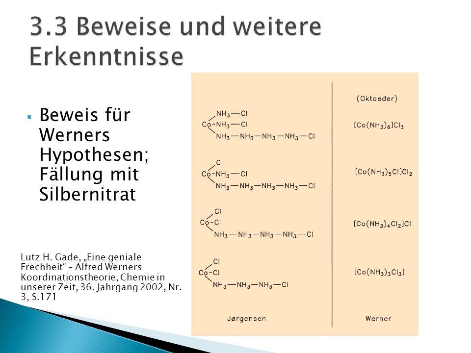 Beweis für Werners Hypothesen; Fällung mit Silbernitrat Lutz H. Gade, Eine geniale Frechheit – Alfred Werners Koordinationstheorie, Chemie in unserer