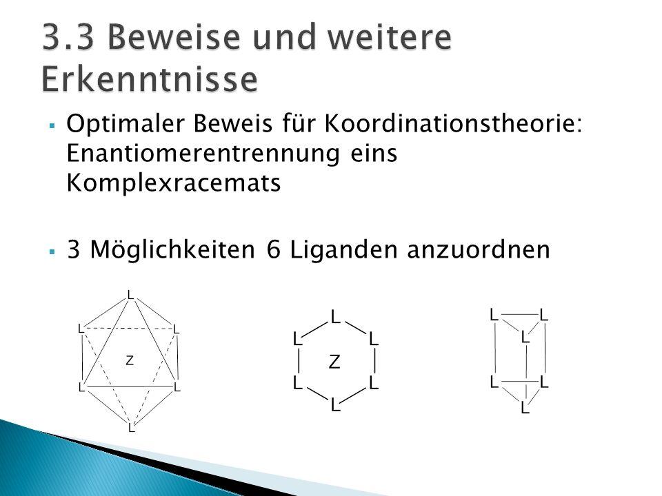 Optimaler Beweis für Koordinationstheorie: Enantiomerentrennung eins Komplexracemats 3 Möglichkeiten 6 Liganden anzuordnen
