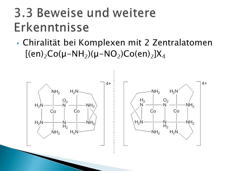 Chiralität bei Komplexen mit 2 Zentralatomen [(en) 2 Co(µ-NH 2 )(µ-NO 2 )Co(en) 2 ]X 4