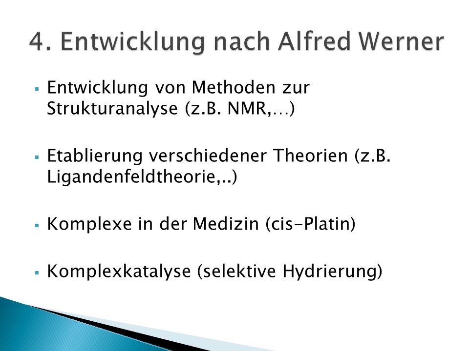 Entwicklung von Methoden zur Strukturanalyse (z.B. NMR,…) Etablierung verschiedener Theorien (z.B. Ligandenfeldtheorie,..) Komplexe in der Medizin (ci