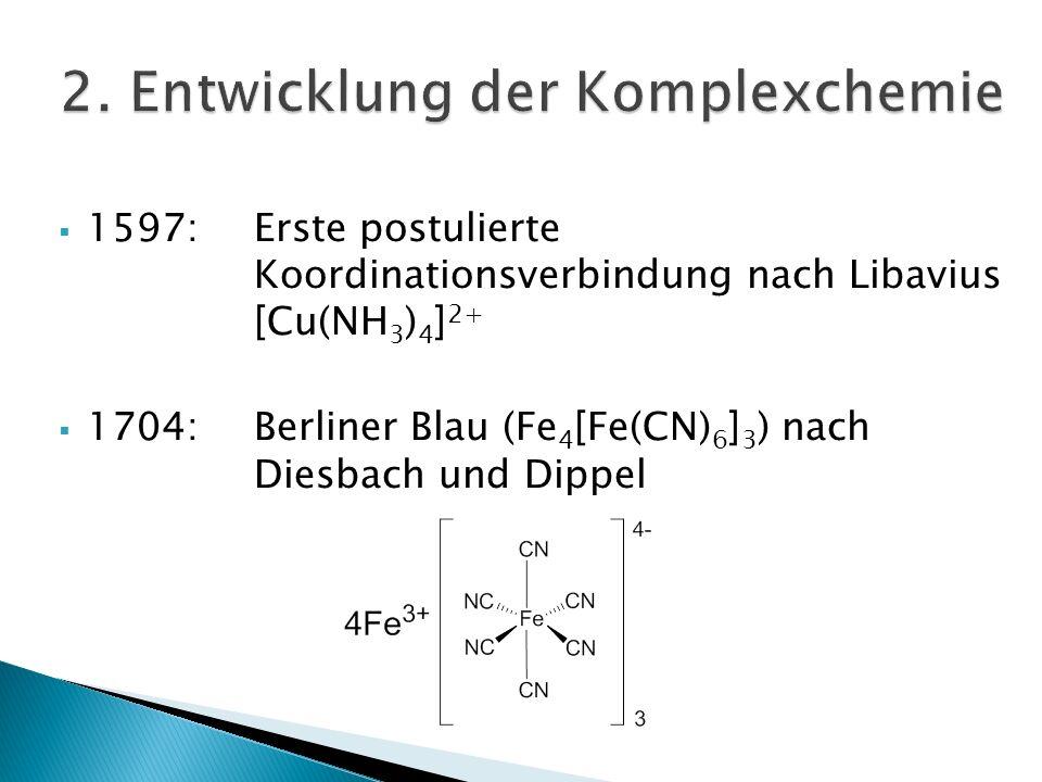 1597:Erste postulierte Koordinationsverbindung nach Libavius [Cu(NH 3 ) 4 ] 2+ 1704:Berliner Blau (Fe 4 [Fe(CN) 6 ] 3 ) nach Diesbach und Dippel 1798:Citoyen Tassaert ([Co(NH 3 ) 6 ] 3+