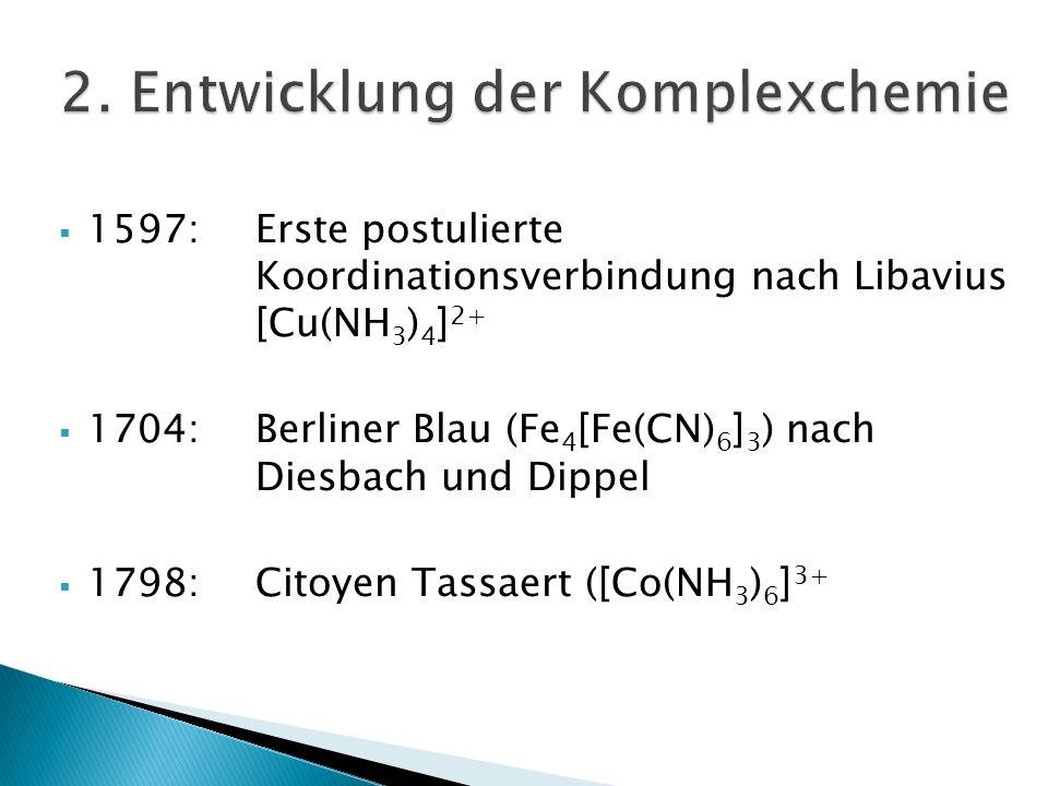 1597:Erste postulierte Koordinationsverbindung nach Libavius [Cu(NH 3 ) 4 ] 2+ 1704:Berliner Blau (Fe 4 [Fe(CN) 6 ] 3 ) nach Diesbach und Dippel 1798: