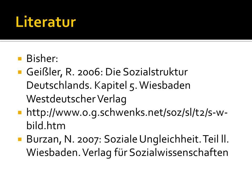 Bisher: Geißler, R. 2006: Die Sozialstruktur Deutschlands. Kapitel 5. Wiesbaden Westdeutscher Verlag http://www.o.g.schwenks.net/soz/sl/t2/s-w- bild.h