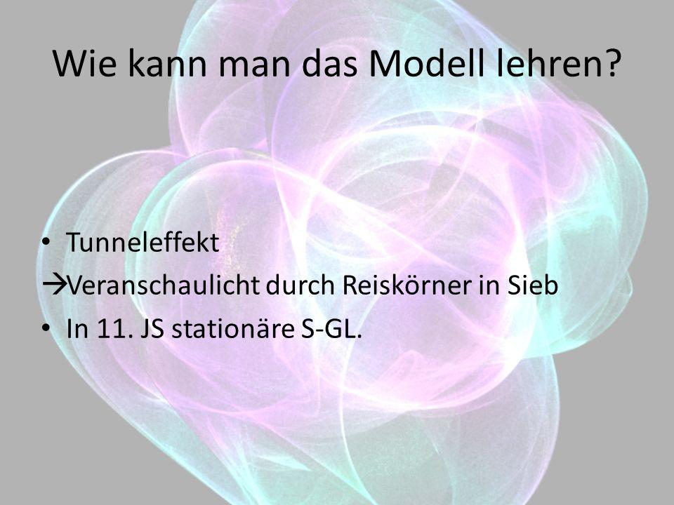 Wie kann man das Modell lehren? Tunneleffekt Veranschaulicht durch Reiskörner in Sieb In 11. JS stationäre S-GL.
