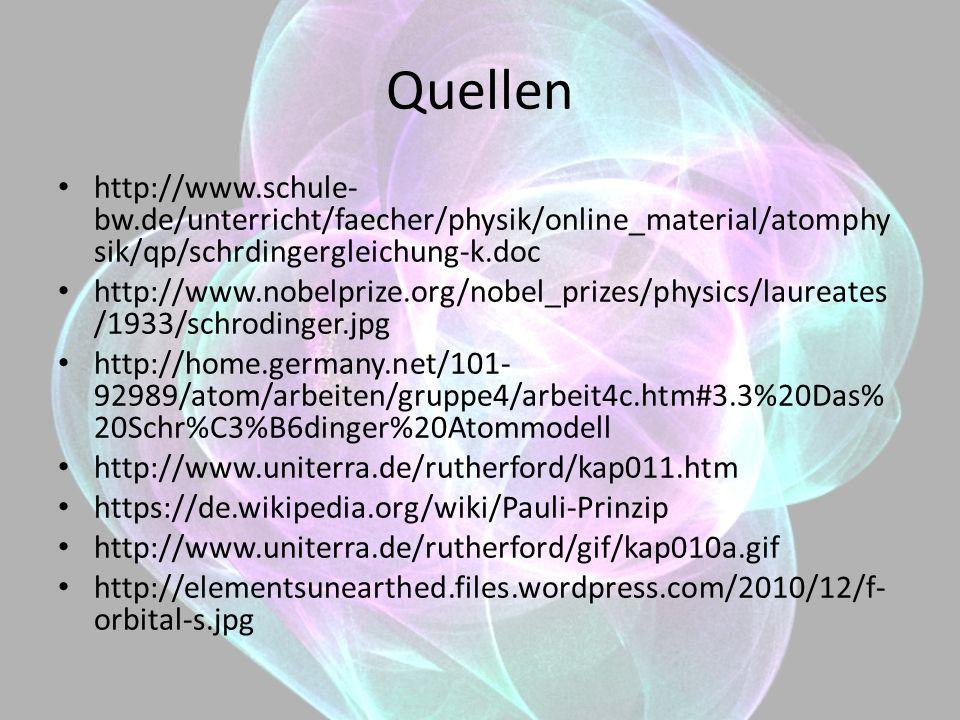 Quellen http://www.schule- bw.de/unterricht/faecher/physik/online_material/atomphy sik/qp/schrdingergleichung-k.doc http://www.nobelprize.org/nobel_pr