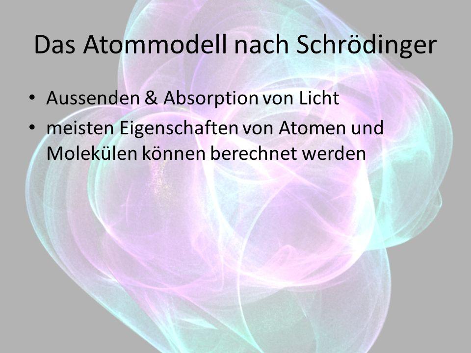 Das Atommodell nach Schrödinger ABER nicht jedes Verhalten von Elektronen erklärbar z.B.: Das Pauliprinzip: Ununterscheidbarkeit Quantenzahlen der Elektronen im Atom