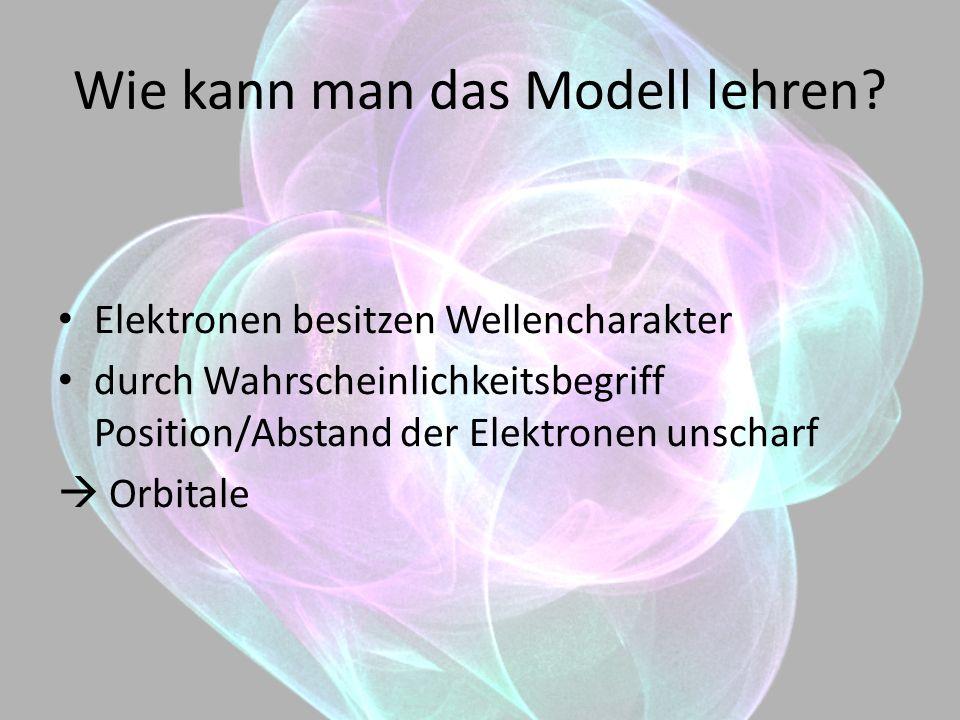 Wie kann man das Modell lehren? Elektronen besitzen Wellencharakter durch Wahrscheinlichkeitsbegriff Position/Abstand der Elektronen unscharf Orbitale